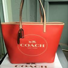 NWT coach logo saffiano logo tote orange handbag