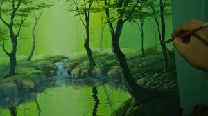 acrylic landscape painting tutorial the misty forest with a river and water reflections you