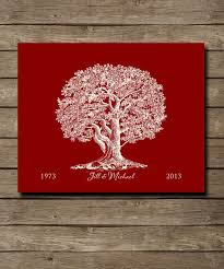 personalized 40th ruby wedding anniversary idea gift custom tree with initials in love heart 8 x 10 poster print