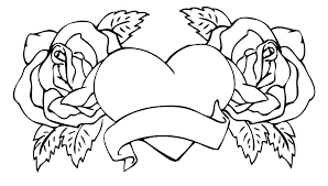 printable hearts coloring pages roses and inside of 9 page pdf