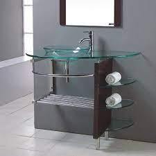 Kokols Usa Clear Single Sink Vanity With Clear Tempered Glass And Glass Top Common 32 In X 22 In Lowes Com Glass Bathroom Top Bathroom Design Glass Bathroom Sink