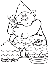 Trolls Movie Cupcakes Coloring Pages Printable