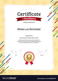 Portrait Certificate Template In Football Sport