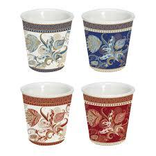 Easy Life Design Coffee Mugs Set 4 Porcelain Coffee Cups 100 Ml In Gift Box Shangri La