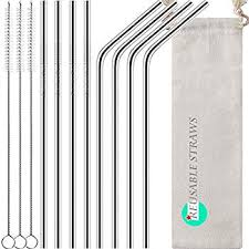 Antonki Reusable Straws, <b>8</b> Pack Stainless Steel Straws <b>10.5 Inch</b> ...