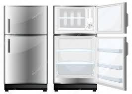 閉じた状態と開いたドアの冷蔵庫 ストックベクター Blueringmedia