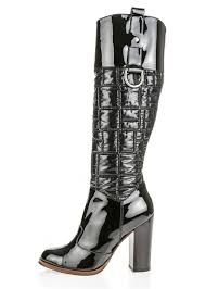details about dolce gabbana d g black quilted nylon patent leather tall boots heel sz 39 1350