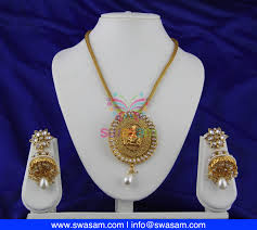 Polki Pendant Set Designs Indian Jewelry Store Swasam Com Pearl Ganash Design