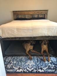 California King wooden bed with dog den underneath | Bed DIY in 2019 ...