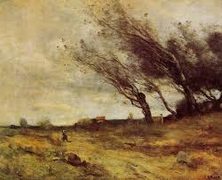 camille corot windswept landscape 1865 oil on canvas