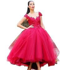Amazon.com: CCBubble Tea Length Prom Dresses 2017 Appliques Red ...