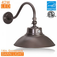 integrated led gooseneck barn light fixture with adjule swivel head photocell 100 277vac oil rubbed bronze