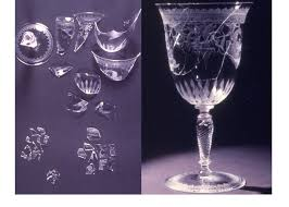 glass goblet fragments of broken glass museum no circ 618 1967