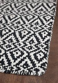 oslo black white loom hooked cotton rug 040 in and
