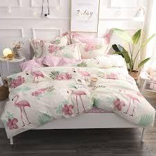 2018 flamingo printing bedding set 100 cotton duvet cover flat sheet pillowcase comforter bed set