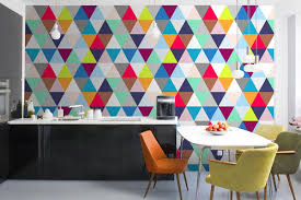 View in gallery Triangle-patterned wall mural