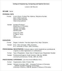 Resume Job Sample Lecturer Job Resume Example Sample Resume Job