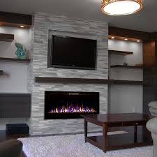 fusion 50 inch built in ventless heater recessed wall mounted electric fireplace pebble