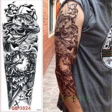 водонепроницаемый временные татуировки наклейки полный руку большой череп