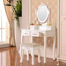ktaxon elegance white dressing table vanity table and stool set wood makeup desk with 4 drawers mirror walmart
