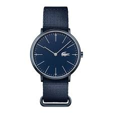 watches for men men s accessories lacoste lacoste moon watch extra slim blue textile and leather strap