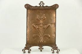photo 1 art nouveau or arts crafts 1900 antique copper fireplace screen