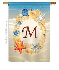 summer m monogram house flag