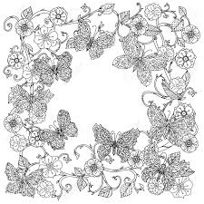 Uncoloured Frame Flowers And Butterfly For Adult Coloring Book