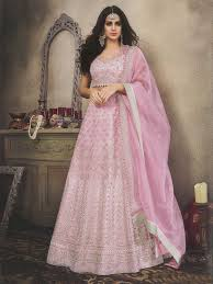 Wedding Designer Powder Pink Colour Wedding Designer Orgenza Lehenga Choli