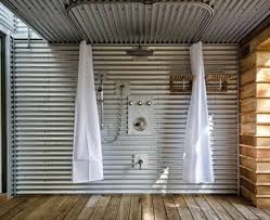 outdoor shower using curtain tracks ed leimgardt contractors industrial shower curtains
