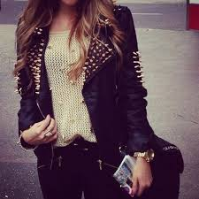 shirt beige jacket studs black gold leather jeans sweater girly edgy retro fesh geil wooooow wunderschön will haben sofort liebe love
