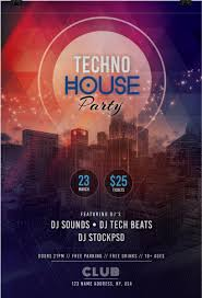 Tech House Party Free Psd Flyer Template Party Poster Flyer