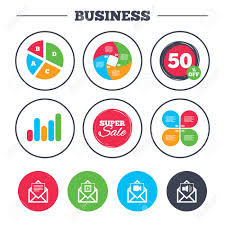 Business Pie Chart Growth Graph Mail Envelope Icons Message