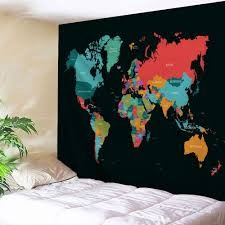 world map print tapestry wall hanging decor colormix w71 inch l79 inch