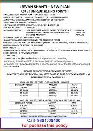 Lic Jeevan Shanti Chart Lic Jeevan Shanti Plan Call 9891009400