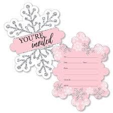 Snowflake Birthday Invitations Pink Winter Wonderland Shaped Fill In Invitations Holiday Snowflake Birthday Party Or Baby Shower Invitation 12 Ct