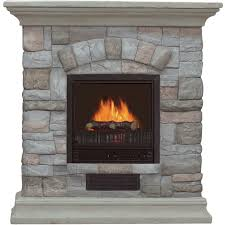 electric fireplace with mantel and multicolor stone facade 5115 btu model poly
