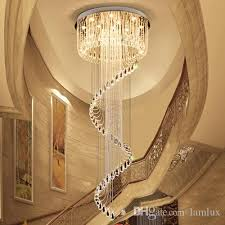 high end crystal ceiling chandeliers k9 crystal spin shape modern led chandelier lighting pendent lamps for duplex stairs villa hotel hall spin shape