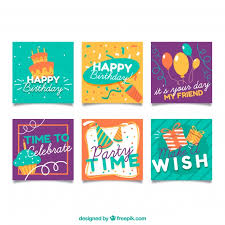 Small Birthday Cards Collection Vector Free Download