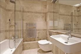 Beautiful travertine bathroom with dual rainfall showerheads