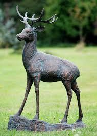 wild deer stag bronze metal garden statues