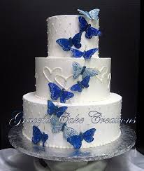 Elegant White Wedding Cake With Butterflies And Hearts Wedding