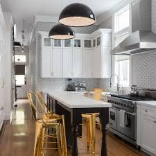transitional kitchen lighting. Zaneen Lighting For A Transitional Kitchen With Gold Counter Stools And Lower Haight Residence By Geddes Ulinskas Architects L
