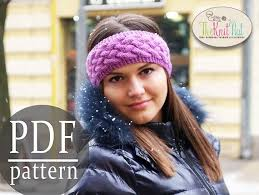 Knit Ear Warmer Pattern Simple Instant Download Knitting Pattern Chunky Braid Cable Pattern Etsy