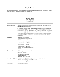 Resume Internship Objective Resume Cover Letter Example