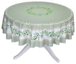 70 round ramatuelle green coated cotton tablecloth by tissus toi