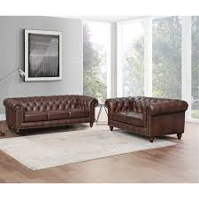 traditional brown leather sofa and