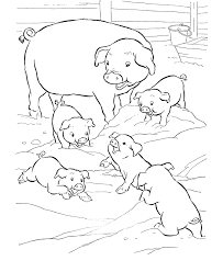 Small Picture Farm animal coloring page Pigs play in the mud Pages to Color