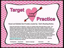 Target Practice Long Vowels Valentine Sorting Center Long