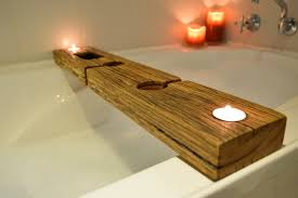 bathroom bathtub caddy with wine candle book holder